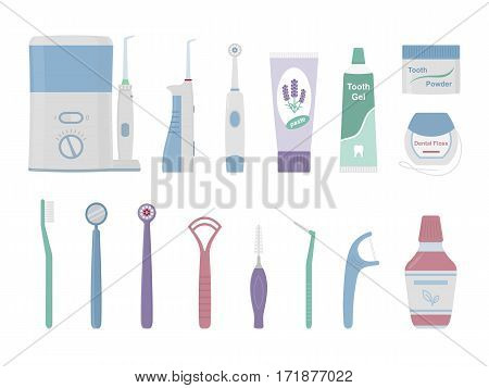 Dental cleaning tools. Vector illustration of oral hygiene products isolated on white background.