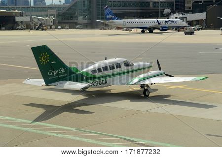 BOSTON - MAY. 6, 2015: Cape Air Cessna 402C at Boston Logan International Airport, Boston, Massachusetts, USA.