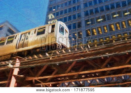 A train at daytime in Chicago