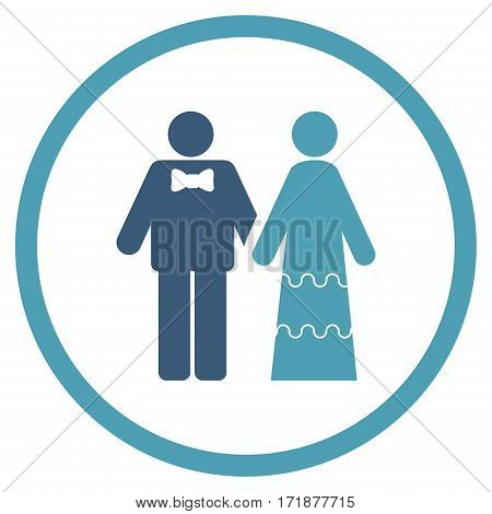 Wedding Persons rounded icon. Vector illustration style is flat iconic bicolor symbol inside circle cyan and blue colors white background.