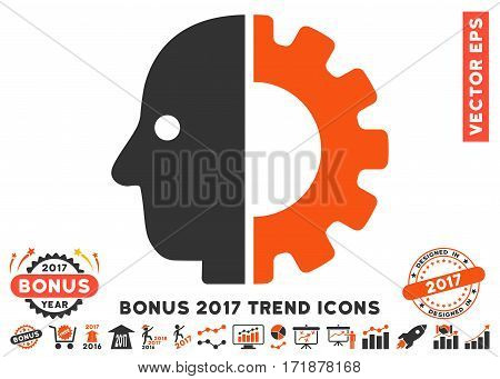Orange And Gray Cyborg Head pictogram with bonus 2017 trend pictograph collection. Vector illustration style is flat iconic bicolor symbols white background.