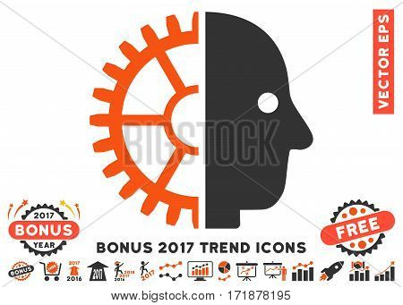 Orange And Gray Cyborg Head pictograph with bonus 2017 year trend pictograph collection. Vector illustration style is flat iconic bicolor symbols white background.
