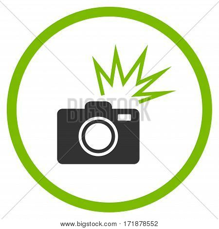 Camera Flash rounded icon. Vector illustration style is flat iconic bicolor symbol inside circle eco green and gray colors white background.