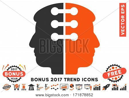 Orange And Gray Dual Head Interface pictograph with bonus 2017 trend images. Vector illustration style is flat iconic bicolor symbols white background.