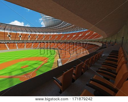 3D Render Of Baseball Stadium With Orange Seats And Vip Boxes