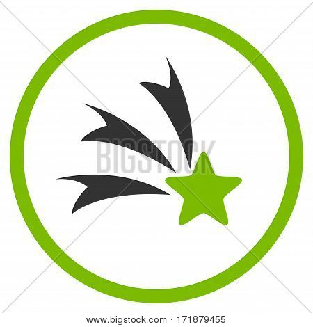Falling Star rounded icon. Vector illustration style is flat iconic bicolor symbol inside circle eco green and gray colors white background.
