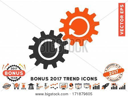 Orange And Gray Gear Mechanism Rotation pictogram with bonus 2017 year trend pictograms. Vector illustration style is flat iconic bicolor symbols white background.