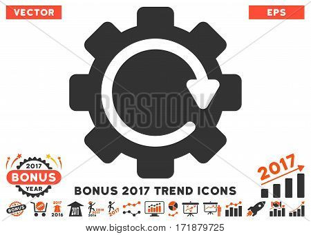 Orange And Gray Gear Rotation Direction icon with bonus 2017 year trend pictograms. Vector illustration style is flat iconic bicolor symbols white background.