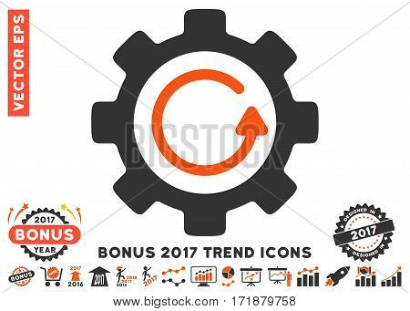 Orange And Gray Gear Rotation Direction icon with bonus 2017 year trend design elements. Vector illustration style is flat iconic bicolor symbols white background.