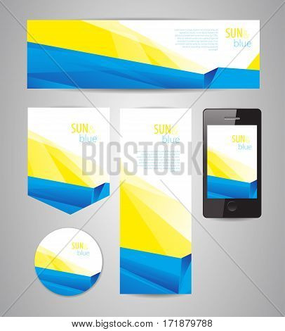 abstract yellow-blue design for different applications, banners and interfaces whith dinamic composition