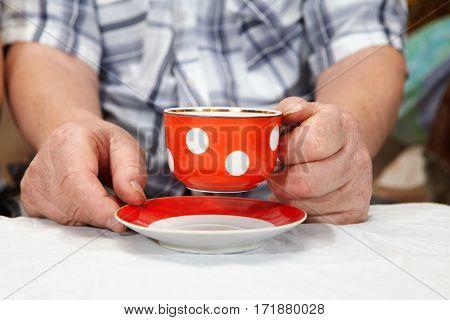 Elderly couple drinking tea. Senior people health care