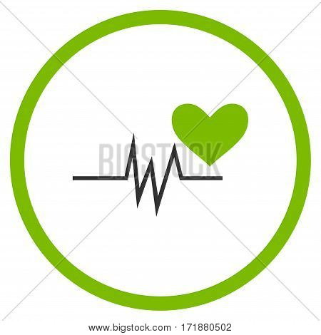 Heart Pulse Signal rounded icon. Vector illustration style is flat iconic bicolor symbol inside circle eco green and gray colors white background.