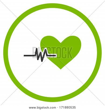 Heart Pulse rounded icon. Vector illustration style is flat iconic bicolor symbol inside circle eco green and gray colors white background.