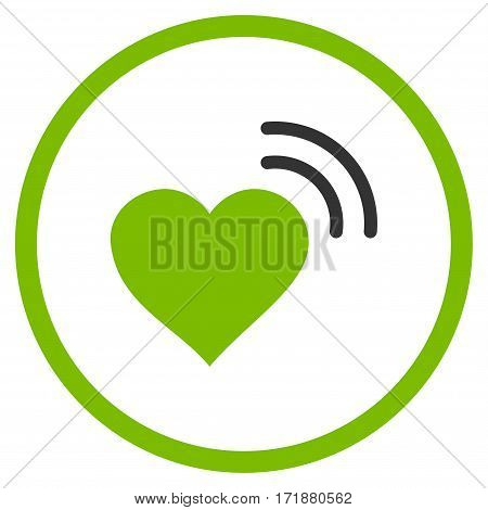 Heart Radio Signal rounded icon. Vector illustration style is flat iconic bicolor symbol inside circle eco green and gray colors white background.
