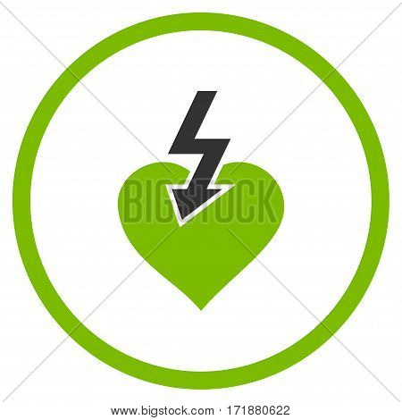 Heart Shock Strike rounded icon. Vector illustration style is flat iconic bicolor symbol inside circle eco green and gray colors white background.