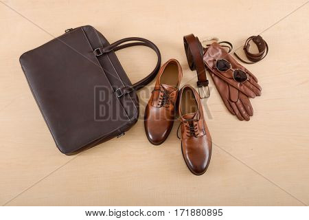 men's casual fashion apparel and accessories on wooden background