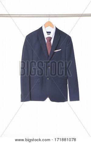Set of blue men's suits ,shirt on hanging
