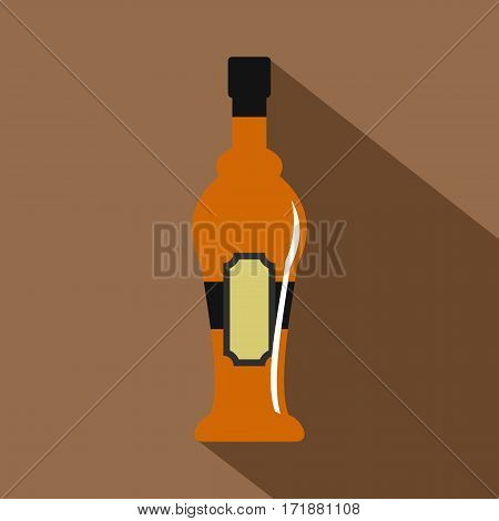 Alcohol bottle icon. Flat illustration of alcohol bottle vector icon for web
