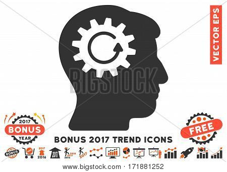 Orange And Gray Head Gear Rotation pictogram with bonus 2017 year trend elements. Vector illustration style is flat iconic bicolor symbols white background.