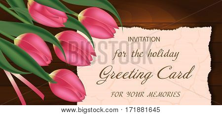 Bouquet of pink tulips on a wooden background with free space for text. Spring flowers. Mother's or Valentine's day background. Vector illustration.