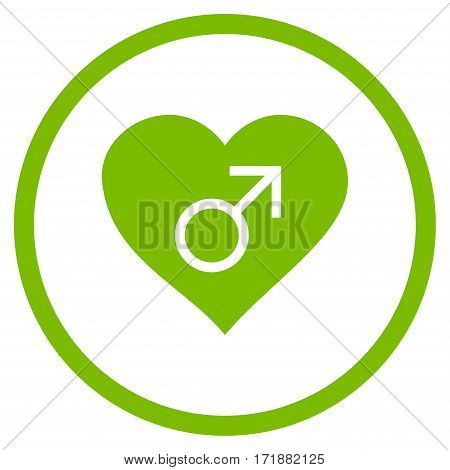 Male Love Heart rounded icon. Vector illustration style is flat iconic bicolor symbol inside circle eco green and gray colors white background.