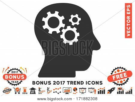 Orange And Gray Intellect Gears pictograph with bonus 2017 year trend elements. Vector illustration style is flat iconic bicolor symbols white background.
