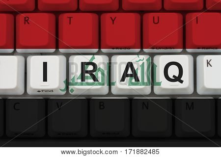 Internet access in Iraq The Iraqi flag on a computer keyboard 3D Illustration