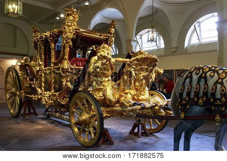 LONDON, GREAT BRITAIN - MAY 17, 2014: This is royal coronation coach in the Royal Mews.