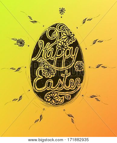 Vector Happy Easter illustration with hand written lettering. Grunge style egg and calligraphy on a gold background.