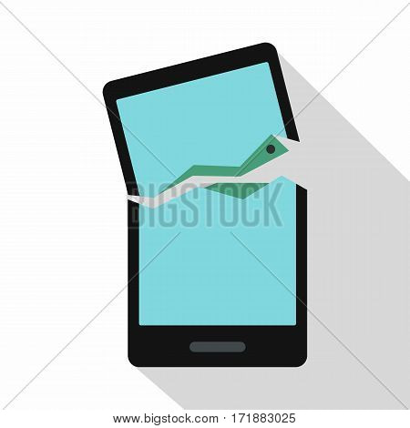 Broken phone icon. Flat illustration of broken phone vector icon for web