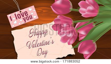 Bouquet of tulips on a wooden background with free space for text. Spring flowers. Valentine's day background. Vector illustration.