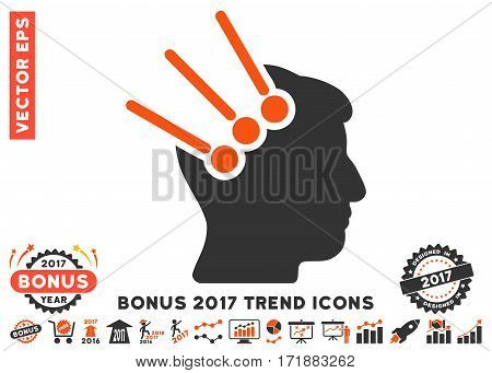 Orange And Gray Neural Interface Connectors pictogram with bonus 2017 trend elements. Vector illustration style is flat iconic bicolor symbols white background.