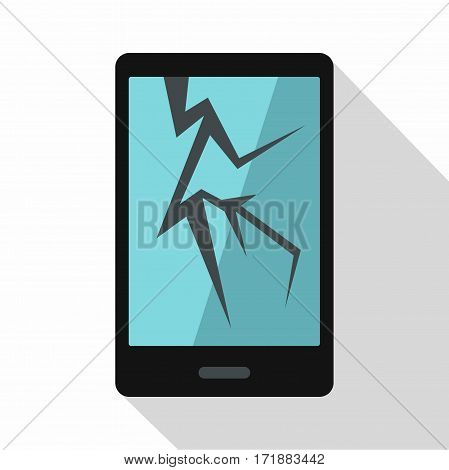 Cracked phone icon. Flat illustration of cracked phone vector icon for web