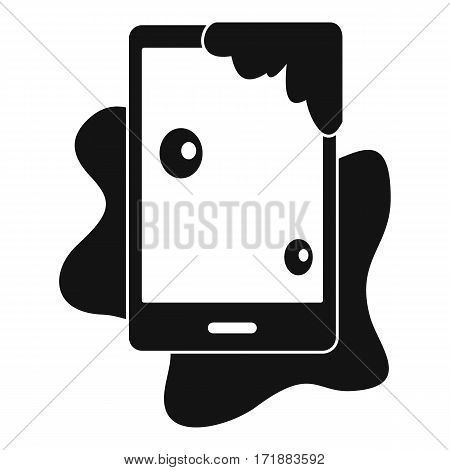 Wet phone icon. Simple illustration of wet phone vector icon for web