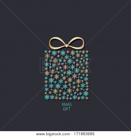 Gold and blue christmas gift box made of snowflakes on black background. Vector eps10 illustration.