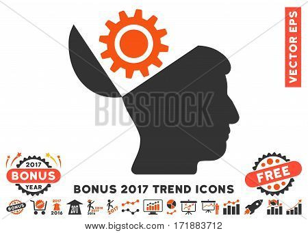 Orange And Gray Open Head Gear pictograph with bonus 2017 year trend pictograph collection. Vector illustration style is flat iconic bicolor symbols white background.