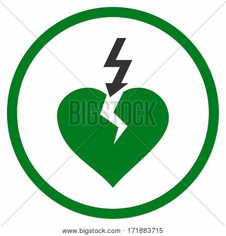 Break Heart rounded icon. Vector illustration style is flat iconic bicolor symbol inside circle green and gray colors white background.
