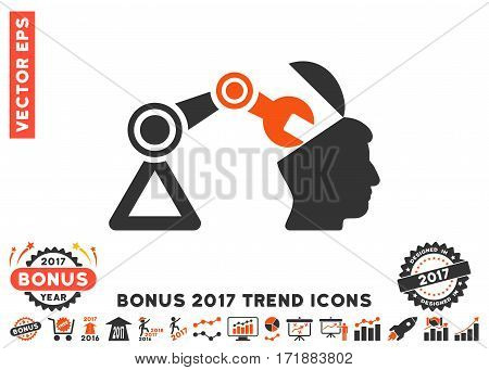 Orange And Gray Open Head Surgery Manipulator pictogram with bonus 2017 trend design elements. Vector illustration style is flat iconic bicolor symbols white background.