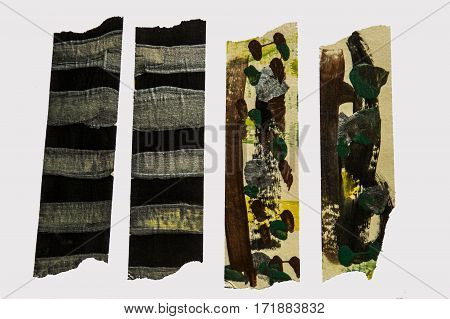 A set of abstract camo-style painted masking tape pieces
