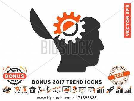 Orange And Gray Open Mind Gear icon with bonus 2017 year trend design elements. Vector illustration style is flat iconic bicolor symbols white background.