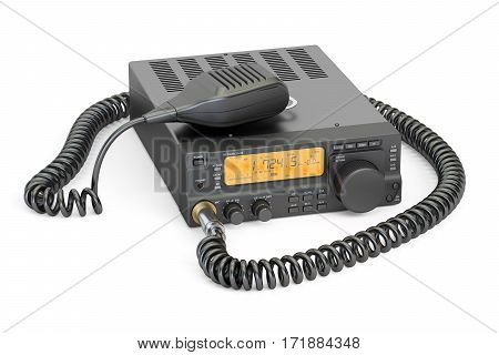 amateur radio transceiver with push-to-talk microphone switch 3D rendering isolated on white background