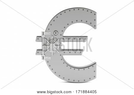 combination safe box in shape of symbol euro 3D rendering isolated on white background