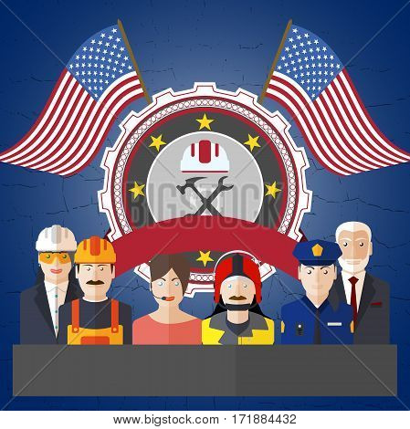 poster for Happy Labor Day with different professions on the background with label and flags.