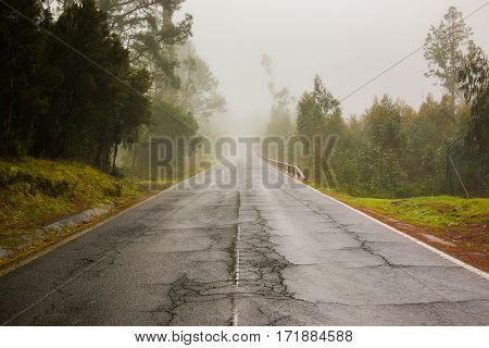 Road in clouds on Teide mountains in Tenerife Canary Islands Spain