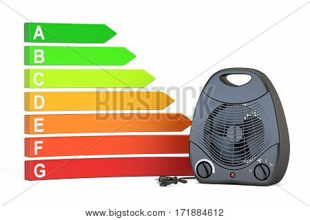 Saving energy consumption concept. Energy efficiency chart with black fan heater 3D rendering