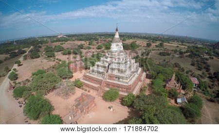 Aerial view on Shwesandaw Pagoda (Paya) in Bagan, Myanmar (Burma).