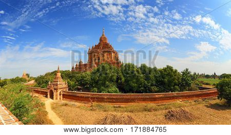 Panorama view of Htilominlo Pagoda (Paya) in Bagan, Myanmar (Burma)