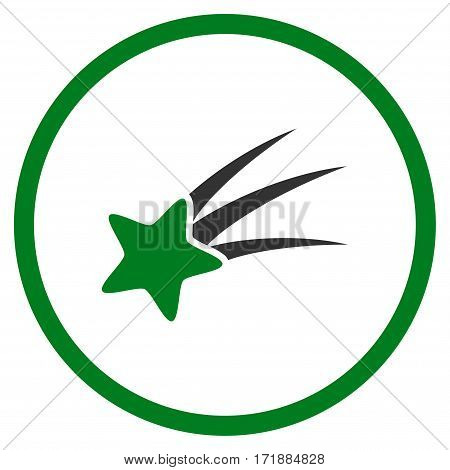 Falling Star rounded icon. Vector illustration style is flat iconic bicolor symbol inside circle green and gray colors white background.