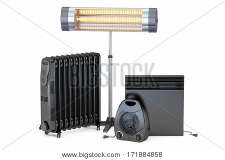 Set of heating devices. Convection fan oil-filled and infrared heaters 3D rendering isolated on white background