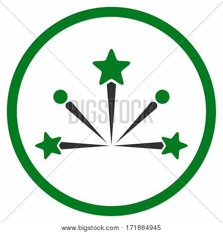 Fireworks Bang rounded icon. Vector illustration style is flat iconic bicolor symbol inside circle green and gray colors white background.